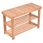 2-Tier Bamboo Shoe Rack Storage Bench