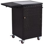 Patio Wicker Dining Storage Roller Trolley Cart