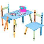 3 pcs Wood Crayon Kids Table & Chairs Set
