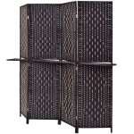 Folding Removable 4 Panel Woven Room Divider