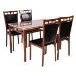 5 pcs Dining Set Faux Marble Table and PU Kitchen Chairs