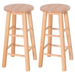24″ / 29″ Set of 2 Round Wood Bar Stools