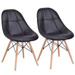 Set of 2 Armless PU Leather Dining Chairs with Wood Legs