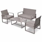 4 pcs Outdoor Rattan Patio Furniture Set w/ Cushions