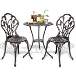 3 pcs Cast Aluminum Outdoor Table and Chair Set