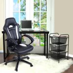 Black and White High-Back Racing Car Style Gaming Chair