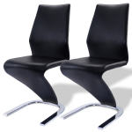 2 pcs PU Leather High Back Dining Chairs