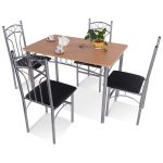 5 pcs Wood and Metal Dining Set