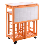 Rolling Kitchen Island Trolley Cart with 2 Stools