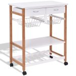 White Rolling Kitchen Island Trolley Cart