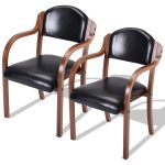 Set of 2 Modern Elegant Bent Wood Dining Arm Chairs