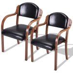 Set of 2 Modern Elegant Bent Wood Dining Arm Chairs