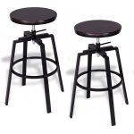 Set of 2 Adjustable Vintage Bar Stool