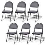 Set of 6 Folding Fabric Upholstered Metal Chairs