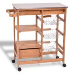 Bamboo Kitchen Shelf Island Trolley Cart