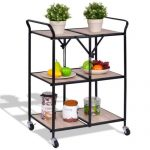 3-Tier Kitchen Folding Storage Shelves Rolling Trolley