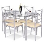 5 pcs Dining Room Tempered Glass Table Chairs Set