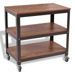 3 Tiers Wood Rolling Cart Sturdy Display Shelf