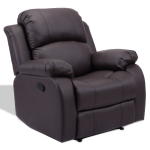 PU Leather Recliner Sofa with Folding Footrest