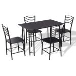 5 pcs Black Dining Table and 4 Chairs Set