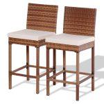 Set of 2 Patio Rattan Bar Stool Chair
