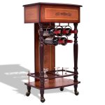 Rolling Vintage Wood Wine Cabinet Bar Stand