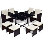 9 pcs Wicker Rattan Cube Garden Furniture Set