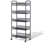 Black / Gray 5-Tier Storage Rack Trolley Cart