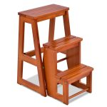 Folding Multi-functional 3-tier Ladder Wood Step Stool