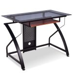 Tempered Glass Top Study Desk w/ Sliding Keyboard Tray