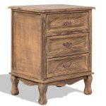 Storage Solid Wood End Nightstand w/ 3 Drawers