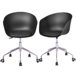 Set of 2 PP Swivel Height Adjustable Rolling Desk Chairs