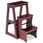 3-Tier Folding Wood Step Ladder Stool Bench