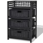 3 Drawers Wicker Baskets Storage Chest Rack