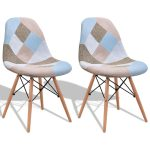 Set of 2 Armless Fabric Upholstered Dining Chair with Wood Legs