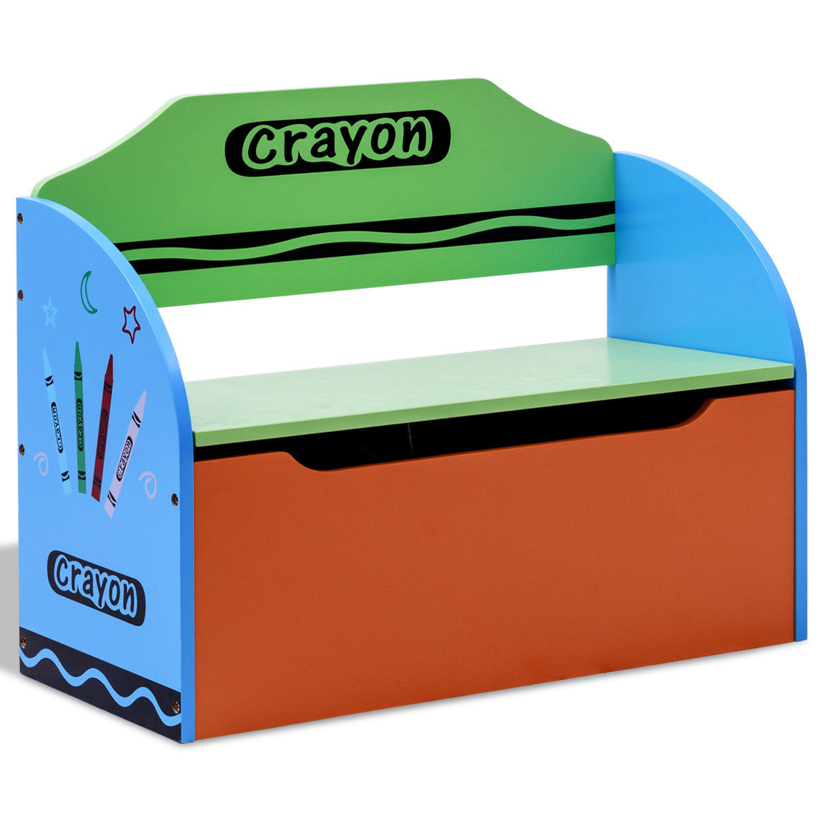 Crayon Themed Wood Toy Storage Box And Bench For Kids
