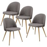 Set of 4 Fabric Cushion Seat Accent Arm Dining Chairs