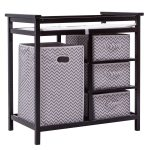 Black Baby Diaper Storage Changing Table w/ 3 Baskets