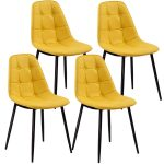 Set of 4 PU Leather Armless Metel Leg Dining Chair