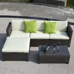 5 pc Wicker Rattan Sofa Cushioned Set