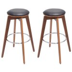 Set of 2 PU Leather Bentwood Swivel Bar Stools
