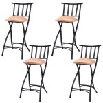 Set of 4 Folding Counter Bar Stools Pub Chairs