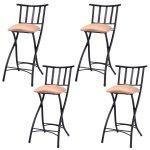 Set of 4 Folding Counter Bar Stools Pub Chairs