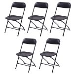 Set of 5 Black / White Plastic Folding Chairs