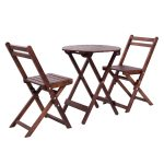 3 pcs Patio Wooden Folding Table and Chair Set
