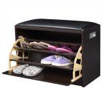 2-in-1 Wooden Shoe Cabinet Ottoman