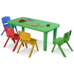 Kids Colorful Plastic Table and 4 Chairs Set