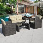 4 pcs Outdoor Wicker Rattan Cushioned Patio Seat