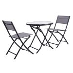 3 pcs Patio Folding Table and Chair Set