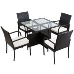5 pcs Rattan Wicker Patio Furniture Set